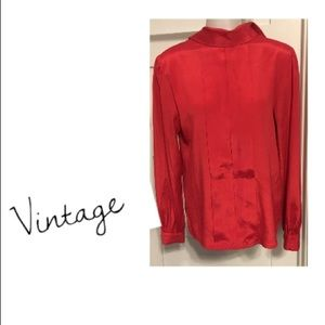Vintage, 6 red long sleeve high neck top